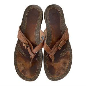 Teva Ventura Brown Leather Flip Flop Sandals 10